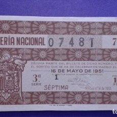Lotería Nacional: DECIMO DE 1951 SORTEO 14. Lote 114275483
