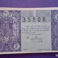 Lotería Nacional: DECIMO DE 1949 SORTEO 11. Lote 114278343