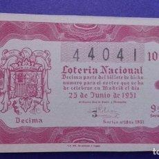 Lotería Nacional: DECIMO DE 1951 SORTEO 18. Lote 114278923