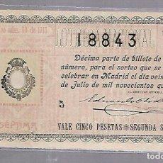 Lotería Nacional: LOTERIA NACIONAL. SORTEO Nº 20 DE 1915. MADRID. VER.. Lote 114346331