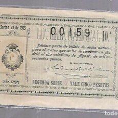 Lotería Nacional: LOTERIA NACIONAL. SORTEO Nº 23 DE 1915. MADRID. PERFECTO ESTADO. VER.. Lote 114346435