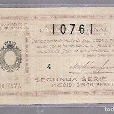 Lotería Nacional: LOTERIA NACIONAL. SORTEO Nº 21 DE 1920. MADRID. PERFECTO ESTADO. VER.. Lote 114346843