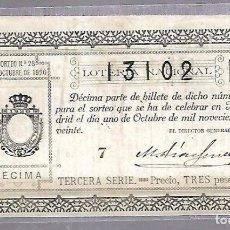 Lotería Nacional: LOTERIA NACIONAL. SORTEO Nº 28 DE 1920. MADRID. PERFECTO ESTADO. VER.. Lote 114346895