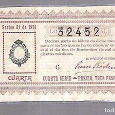 Lotería Nacional: LOTERIA NACIONAL. SORTEO Nº 31 DE 1921. MADRID. PERFECTO ESTADO. VER.. Lote 114346947