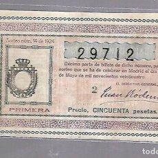 Lotería Nacional: LOTERIA NACIONAL. SORTEO Nº 14 DE 1924. MADRID. PERFECTO ESTADO. VER.. Lote 114347039