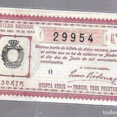 Lotería Nacional: LOTERIA NACIONAL. SORTEO Nº 16 DE 1924. MADRID. PERFECTO ESTADO. VER.. Lote 114347063