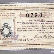 Lotería Nacional: LOTERIA NACIONAL. SORTEO Nº 29 DE 1924. MADRID. PERFECTO ESTADO. VER. CRUZ ROJA. Lote 114347203