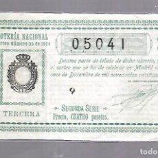 Lotería Nacional: LOTERIA NACIONAL. SORTEO Nº 35 DE 1924. MADRID. PERFECTO ESTADO. VER.. Lote 114347235