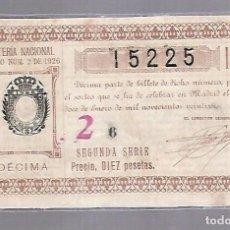 Lotería Nacional: LOTERIA NACIONAL. SORTEO Nº 2 DE 1926. MADRID. PERFECTO ESTADO. VER.. Lote 114347455