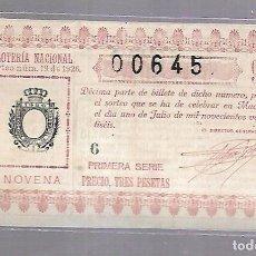 Lotería Nacional: LOTERIA NACIONAL. SORTEO Nº 19 DE 1926. MADRID. PERFECTO ESTADO. VER.. Lote 114347555
