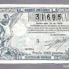 Lotería Nacional: LOTERIA NACIONAL. SORTEO Nº 35 DE 1928. MADRID. PERFECTO ESTADO. VER.. Lote 114347907