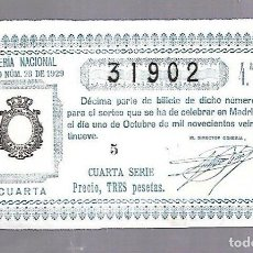 Lotería Nacional: LOTERIA NACIONAL. SORTEO Nº 28 DE 1929. MADRID. PERFECTO ESTADO. VER.. Lote 114347995