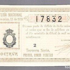 Lotería Nacional: LOTERIA NACIONAL. SORTEO Nº 12 DE 1929. MADRID. PERFECTO ESTADO. VER.. Lote 114348035