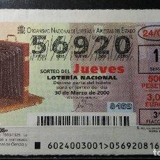 Lotteria Nationale Spagnola: L. NACIONAL JUEVES,2000, SORTEO 24/00. CAMARA FOTOGRÁFICA . Nº 56920.. Lote 114567219