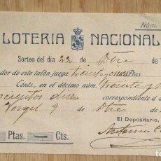 Loterie Nationale: VERGEL - PARTICIPACION LOTERIA NACIONAL 1907. Lote 114627383