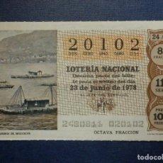 Lotería Nacional: LOTERÍA NACIONAL - DÉCIMO CAPICUA - 20102 - SORTEO 24/78 DEL 23 DE JUNIO DE 1978. Lote 143352473