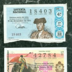 Lotería Nacional: LOTE BILLETES LOTERIA NACIONAL TOROS. Lote 115050131