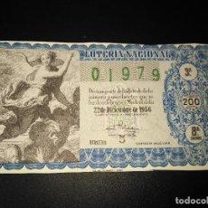 Lotería Nacional: DÉCIMO LOTERIA NACIONAL 1956 SORTEO 36 ESPAÑA . Lote 115164699
