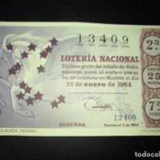 Lotería Nacional: DÉCIMO LOTERIA NACIONAL 1964 SORTEO 3 ESPAÑA . Lote 115164939