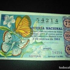 Lotería Nacional: DÉCIMO LOTERIA NACIONAL 1964 SORTEO 7 ESPAÑA . Lote 115165639
