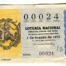 Lotería Nacional: LOTERIA NACIONAL Nº 00024 ADMINISTRACION PALAU AMPOSTA 1 DE MARZO DE 1975. Lote 115260859