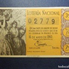 Loterie Nationale: LOTERÍA NACIONAL - DÉCIMO Nº 02779 SORTEO 14/60 DEL 16 DE MAYO DE 1960 - CALLAO ADMON. 38. Lote 115344103