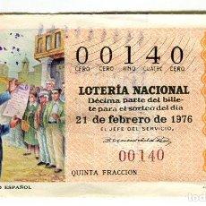 Lotería Nacional: LOTERIA NACIONAL Nº 00140 ADMON. Nº12 --------- 21 DE FEBRERO DE 1976. Lote 115410159