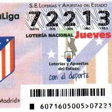 Lotería Nacional: DÉCIMO DEDICADO AL ATLÉTICO DE MADRID. Lote 115477607