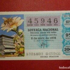 Lotería Nacional: LOTERÍA NACIONAL - DÉCIMO Nº 45946 SORTEO 13/78 DEL 8 DE ABRIL DE 1978. Lote 115692875