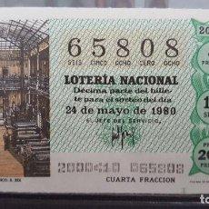 Lotería Nacional: DECIMO LOTERIA NACIONAL 24 DE MAYO 1980. SORTEO 20/80. TALLERES DE UN PERIODICO (S. XIX). Nº 65808. Lote 116117423