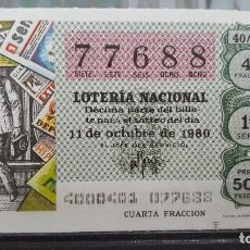 Lotteria Nationale Spagnola: DECIMO LOTERIA NACIONAL 11 DE OCTUBRE 1980. SORTEO 40/80. FOTOGRAFO DE PRENSA. Nº 77688. Lote 116123243
