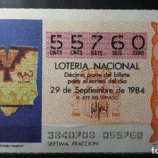 Lotería Nacional: DECIMO LOTERIA NACIONAL 29 DE SEPT. 1984. SORTEO 38/84. PONCHO. CULTURA CHANCAY. Nº 55760. Lote 116412251