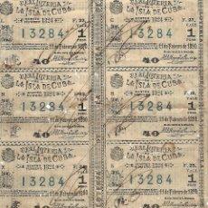 Lotería Nacional: TIRA DE OCHO DECIMOS. LOTERIA DE LA ISLA DE CUBA. 11 FEBRERO 1890. VER. Lote 116425415