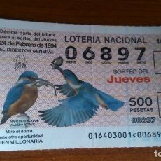Lotería Nacional: 1 DECIMO LOTERIA DEL JUEVES - 24 FEBRERO 1994 - 16/94 - FAUNA - AVES - MARTIN PESCADOR. Lote 116629556