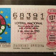 Lotteria Nationale Spagnola: DECIMO LOTERIA NACIONAL 2 DE JUNIO 1985. SORTEO 21/85. CONGRESO EUROPEO LOTERIAS ESTADO. Nº 68391. Lote 116994507