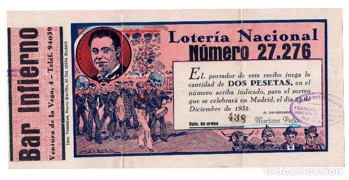 MADRID 1932 PARTICIPACIÓN EMITIDA POR EL BAR INFIERNO. CALLE VENTURA DE LA VEGA,4 (Coleccionismo - Lotería Nacional)