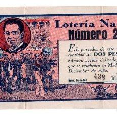 Lotería Nacional: MADRID 1932 PARTICIPACIÓN EMITIDA POR EL BAR INFIERNO. CALLE VENTURA DE LA VEGA,4. Lote 117161751