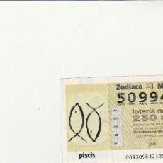Lotería Nacional: LOTERIA NACIONAL JUEVES 1993. SORTEO DEL ZODIACO 30 DE ENERO. SORTEO 9/93 PISCIS. Lote 117724871