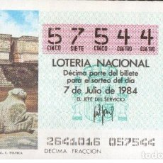 Lotería Nacional: DÉCIMO 7 JULIO 1984. PALACIO GOBERNADOR UXMAL. CULTURA TOLTECA. ADMÓN. 18. BILBAO. Lote 117806319