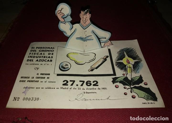 1951 CURIOSA PARTICIPACIÓN DESPLEGABLE DE EL PERSONAL DEL GREMIO FISCAL DE INDUSTRIAS DEL AZÚCAR (Coleccionismo - Lotería Nacional)