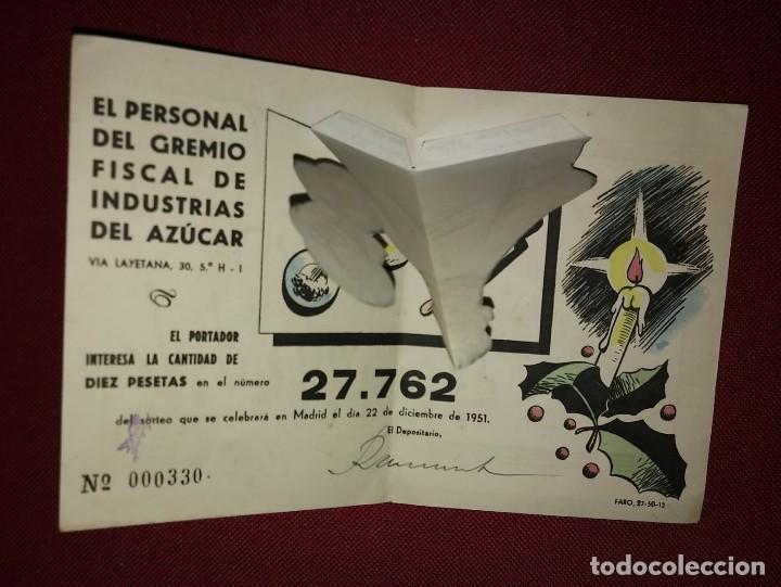 Lotería Nacional: 1951 Curiosa participación desplegable de el personal del gremio fiscal de industrias del azúcar - Foto 3 - 118029807