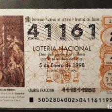 Lotería Nacional: L. NACIONAL. ADORACION MAGOS. CATEDRAL CIUDAD REAL. SORTEO 2/98. 5 DE ENERO DE 1998. Nº 41161. Lote 118103179