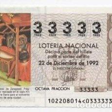 Lotería Nacional: LOTERÍA NACIONAL POR NUMERACIÓN - CINCO NÚMEROS IGUALES ( 33333 ). Lote 118728523