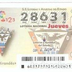 Lotería Nacional: LOTERÍA DEL JUEVES, SORTEO Nº 23 DE 2017. ESCUDO C.D. MIRANDES. REF. 10-17-23. Lote 118931803