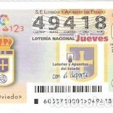 Lotería Nacional: LOTERÍA DEL JUEVES, SORTEO Nº 33 DE 2017. ESCUDO R. OVIEDO. REF. 10-17-33. Lote 118932635