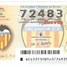 Lotería Nacional: LOTERÍA DEL JUEVES, SORTEO Nº 43 DE 2017. ESCUDO VALENCIA C.F. REF. 10-17-43. Lote 119218127
