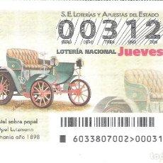 Lotería Nacional: 1 DECIMO LOTERIA NACIONAL JUEVES - 26 ABRIL 2018 - 33/18 COCHES VEHICULOS ANTIGUOS OPEL LUTZMANN. Lote 159306753