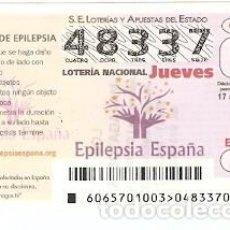 Lotería Nacional: LOTERÍA JUEVES, SORTEO Nº 65 DE 2017. CRISIS DE EPILEPSIA. REF. 10-17-65. Lote 119851459