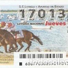 Lotería Nacional: LOTERÍA JUEVES, SORTEO Nº 67 DE 2017. HIPÓDROMOS. SANLUCAR DE BARRAMEDA. REF. 10-17-67. Lote 119851619