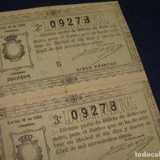 Lotería Nacional: 2 DÉCIMOS DEL 19 DE ABRIL DE 1905. ADMINISTRACIÓN DE ZARAGOZA. Lote 120228799